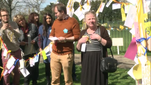 family and supporters hold ceremony england london hampstead ext richard ratcliffe reading messages of support and poems sot / supporters reading... - nazanin zaghari ratcliffe video stock e b–roll