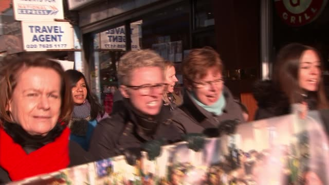 protest march in north london england london hampstead ext various of people taking part in march in support of britishiranian woman nazanin... - nazanin zaghari ratcliffe video stock e b–roll