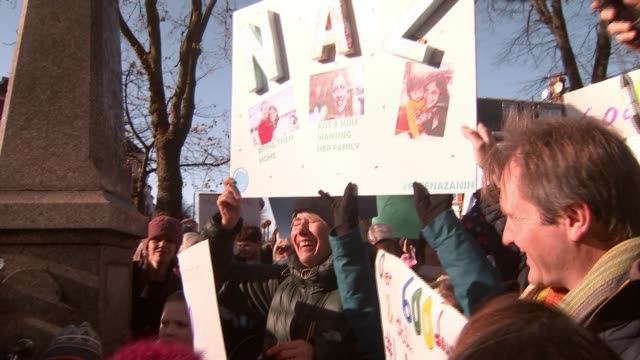 protest march in north london england london hampstead ext people gathered for march in support of nazanin zaghariratcliffe vox pops sot actor emma... - richard ratcliffe video stock e b–roll