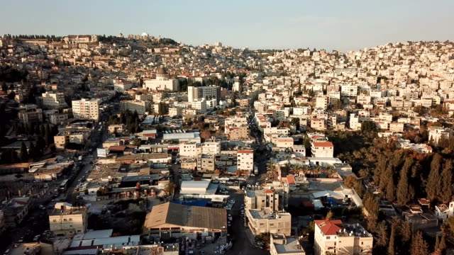 nazareth, church of the annunciation/ aerial - israel stock-videos und b-roll-filmmaterial