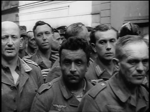 nazi prisoners of war looking solemn / paris / documentary - prisoner video stock e b–roll