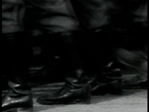 nazi soldiers marching in parade crowd bg. soldier's feet marching. albert speer & other nazi officials in uniform standing saluting. soldiers... - nazism stock videos & royalty-free footage