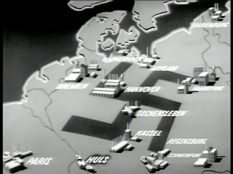 nazi swastika on map of germany w/ illustrations of industrial cities, factories of third reich, wwii. - nazi swastika stock videos & royalty-free footage