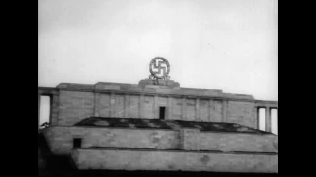 nazi swastika symbol blown up on the zeppelin grandstand - nazi swastika stock videos & royalty-free footage