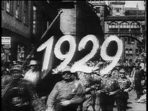 nazi troops marching in rally at nuremberg / germany / newsreel - 1920 1929 stock videos & royalty-free footage