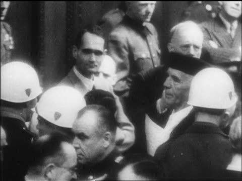 nazis hess von ribbentrop in courtroom at war crimes trials / nuremberg / newsreel - 1946 stock videos and b-roll footage