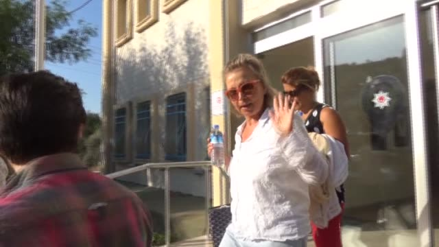 Nazli Ilicak a wellknown Turkish journalist and former parliamentarian arrives Bodrum District Police Department to give statement after Istanbul...