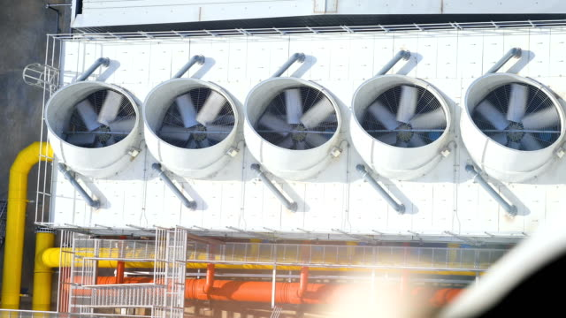 ndustrial large air conditioning fans on function - heat stock videos & royalty-free footage