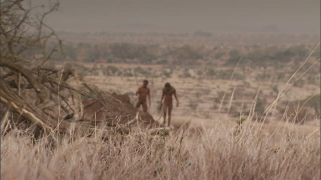 stockvideo's en b-roll-footage met neanderthals with primitive tools step away from a dirt mound. - prehistorische mens