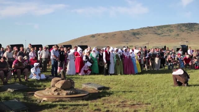 Near Dundee in Kwazulu Natal Afrikaners gather to commemorate the 180th anniversary of the victory of the Voortrekkers over the Zulus during the...