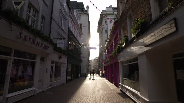 near empty carnaby street on february 24, 2021 in london, england. the ons figures released today show that the uk economy contracted by 9.9% in... - central london stock videos & royalty-free footage