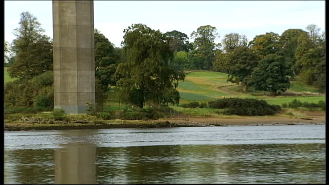 near glasgow erskine bridge ext general views of erskine bridge spanning river clyde callum murray interview sot general views of residential care... - erskine bridge stock videos & royalty-free footage