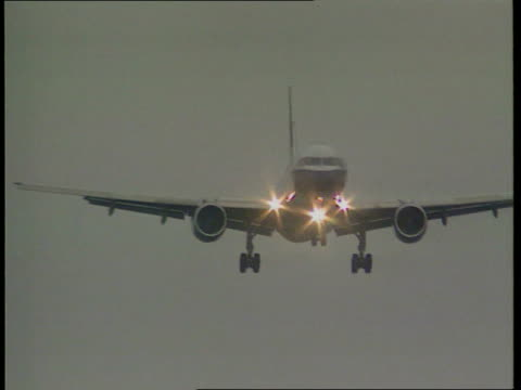 heathrow aeroplane with light at front flies towards aeroplane flying towards with tree in f/g ms plane towards - near miss stock videos and b-roll footage