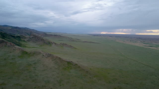Near the settlement Tes is a somon aimak in the western part of Mongolia. Panoramic view of the steppe and sands from above.