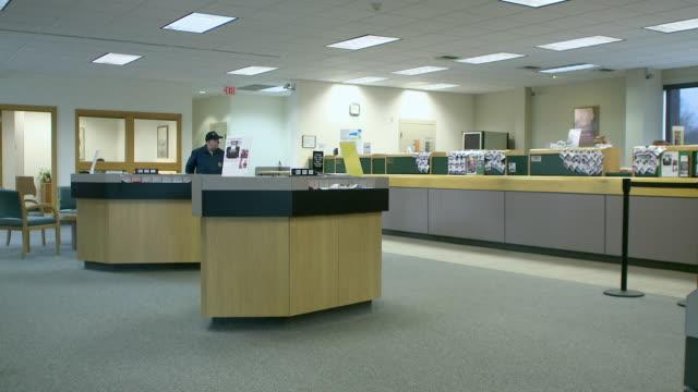 ws near-empty bank lobby, bethlehem, pennsylvania, usa - bethlehem pennsylvania stock videos and b-roll footage