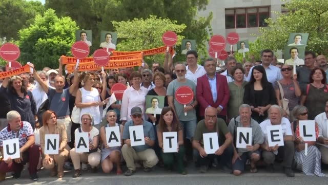 nearly 100 people gather in front of a court in balikesir to express their support and ask for the acquittal of the charges of belonging to a... - mathematician stock videos & royalty-free footage