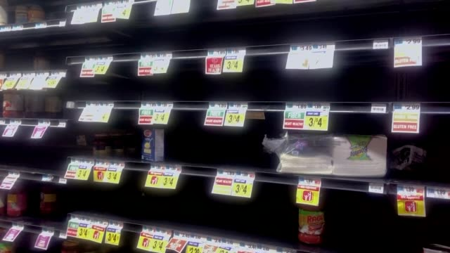 nearly empty shelves at a harlem supermarket on march 17, 2020 in new york city, united states. - b roll stock videos & royalty-free footage