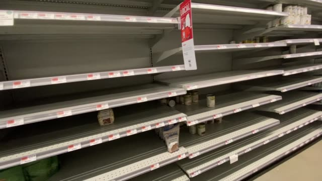 <<nearly empty supermarket shelves at whole foods market>> on march 17, 2020 in weehawken, nj united states. - b roll stock videos & royalty-free footage