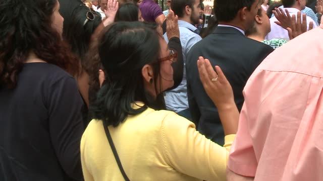 wgn nearly five dozen newly sworn us citizens took their oath in daley plaza on sept 15 2017 - medborgarskap bildbanksvideor och videomaterial från bakom kulisserna