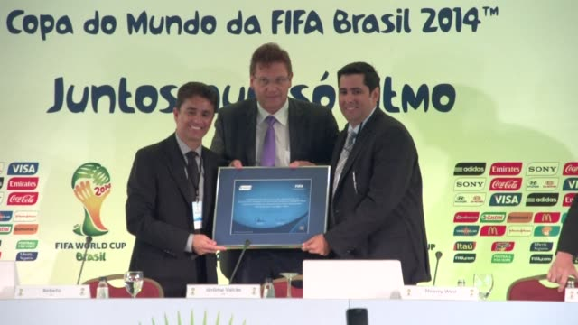 vídeos de stock, filmes e b-roll de nearly three months after the uproar caused by fifa secretary general jerome valcke criticism of brazil 2014 world cup preparations he was back in... - campeonato esportivo