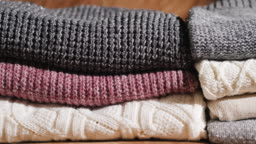 Neatly folded warm winter clothes