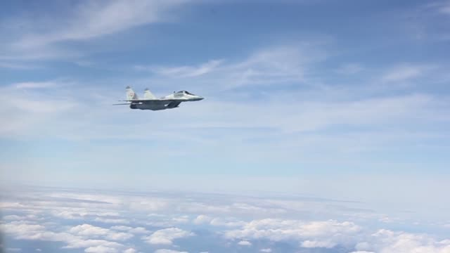 a nebraska air national guard kc135r refuels a czech jas39 gripen fighter aircraft over slovakia and gets mockintercepted by mig29â's as part of the... - national guard stock videos and b-roll footage