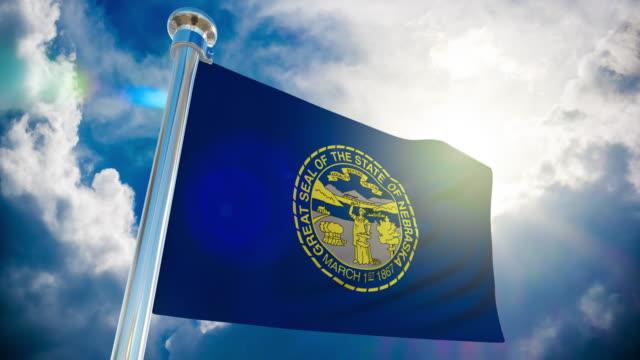 stockvideo's en b-roll-footage met vlag van 4k-nebraska   loop bare stock video - paalzitten