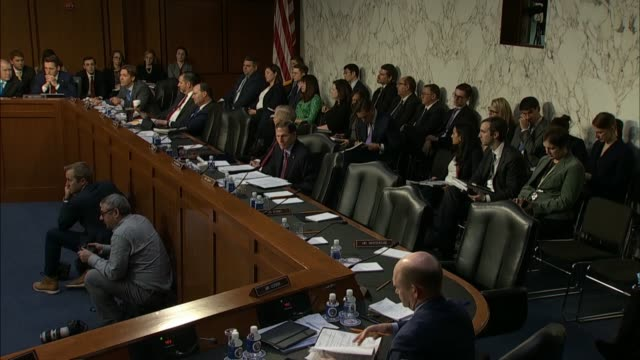 nebraska senator ben sasse learns from justice department inspector general michael horowitz at a senate judiciary committee hearing on his report... - künstlich stock-videos und b-roll-filmmaterial