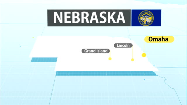 nebraska staatskarte - nebraska stock-videos und b-roll-filmmaterial