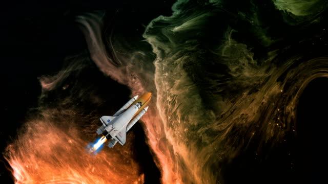 星雲と宇宙船 - 宇宙船点の映像素材/bロール