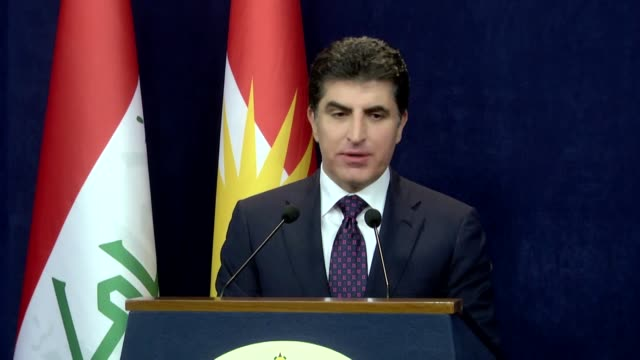 nechirvan barzani, prime minister of the kurdish regional government in northern iraq, speaks at a press conference in erbil on july 04, 2018.... - conference phone stock videos & royalty-free footage
