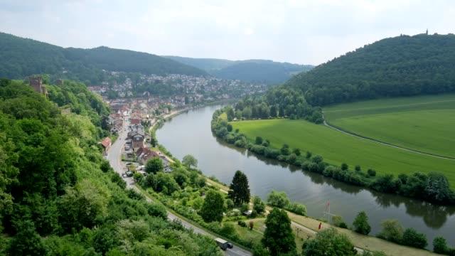 neckar river in spring, neckarsteinach, neckar, baden-württemberg, germany - neckar river stock videos & royalty-free footage