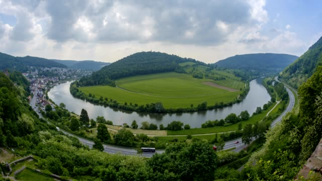 neckar river loop in spring, neckarsteinach, neckar, baden-württemberg, germany - neckar river stock videos & royalty-free footage