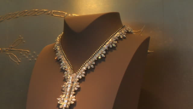 CU Necklace on display in jewelry store / New York, New York, USA