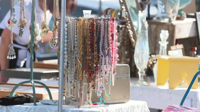 MS Necklaces and other jewelleries arranged in outdoor market for sale / Los Angeles, California, United States