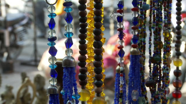necklaces in light at shop in india - rajasthan stock videos and b-roll footage