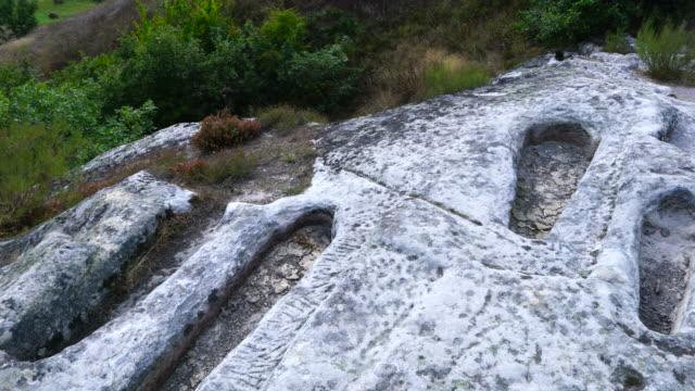 stockvideo's en b-roll-footage met necropolis de san pantaleon, la puente del valle, valderredible municipality, cantabria, spain, europe - puente