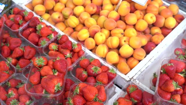 vídeos de stock, filmes e b-roll de nectarines and strawberries - contéiner de plástico