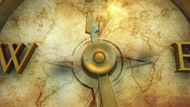 vidéos et rushes de ms ha td needle of a compass moving towards 'north' direction - boussole
