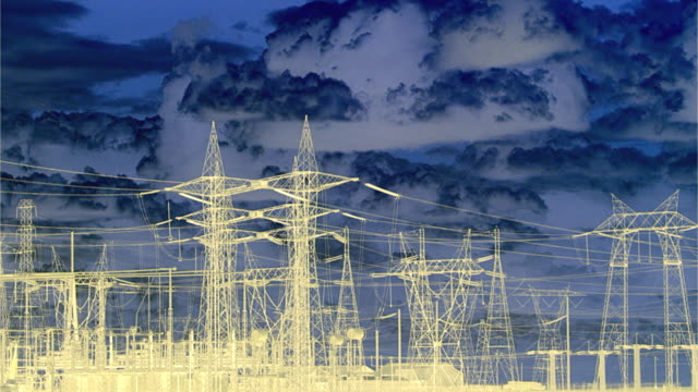 T/L MS PAN Negative image of major electrical grids and towers, San Joaquin Valley, California, USA