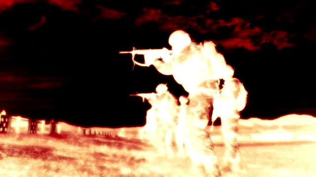 Negative shot of soldiers practicing firing at range