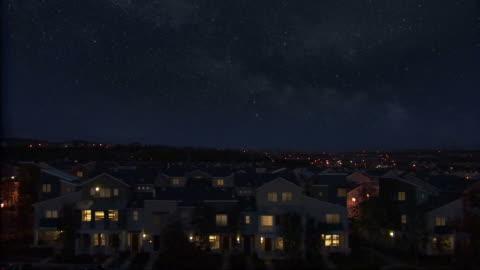 vídeos y material grabado en eventos de stock de tiro de los alrededores de noche con estrellas. - night