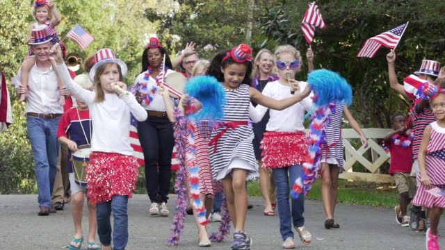 neighborhood july fourth parade - fourth of july stock videos & royalty-free footage