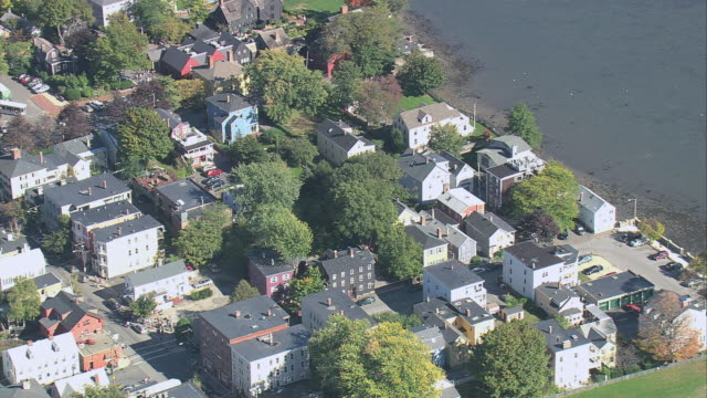 aerial neighborhoods in the town of salem near the bay / massachusetts, united states - salem massachusetts stock videos & royalty-free footage