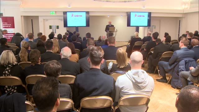 london neil basu speaks from podium to business leaders sot re counterterrorism units across country and need for security and intelligence cutaways... - counter terrorism stock videos & royalty-free footage