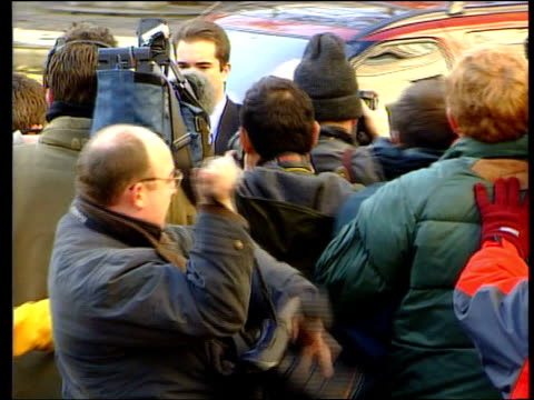 libel action against mohammed al fayed; itn england: london: the strand: ext harrods owner mohammed al fayed arriving at court to defend libel action... - spokesman stock videos & royalty-free footage