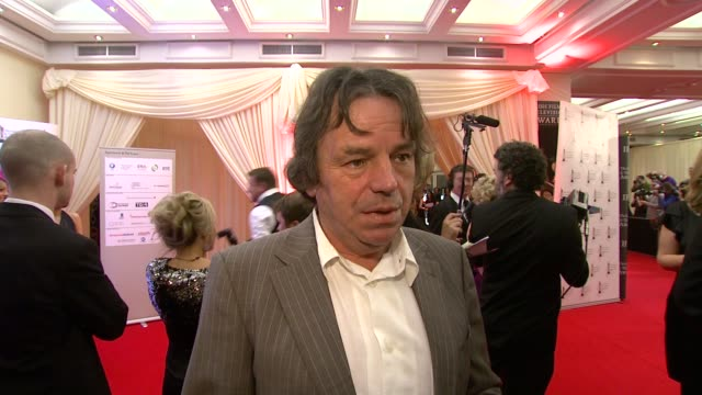neil jordan on his nominations tonight and how much he likes the iftas and how he received a lifetime achievement award a few years ago at the irish... - television awards stock videos & royalty-free footage