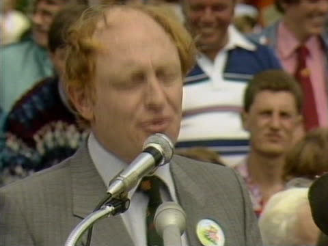 Neil Kinnock addresses the crowds at a miners gala in Durham telling them that Mrs Thatcher will not break the mining people of Great Britain