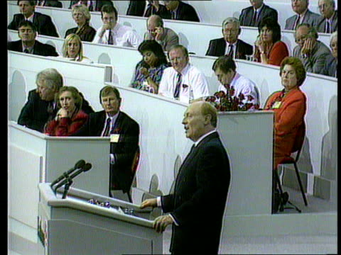 neil kinnock on podium giving speech at conference ms lord callaghanmichael foot mp and tony blair mp listening - mp stock videos and b-roll footage