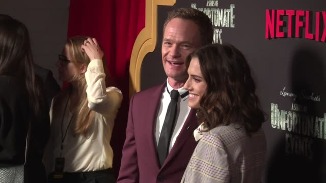 neil patrick harris and allison williams at netflix premieres a series of unfortunate events season 2 at metrograph on march 29 2018 in new york city - netflix stock videos & royalty-free footage